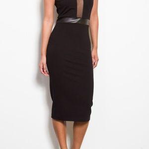 NWT Black Dress w/ Mesh See-thru front & open back